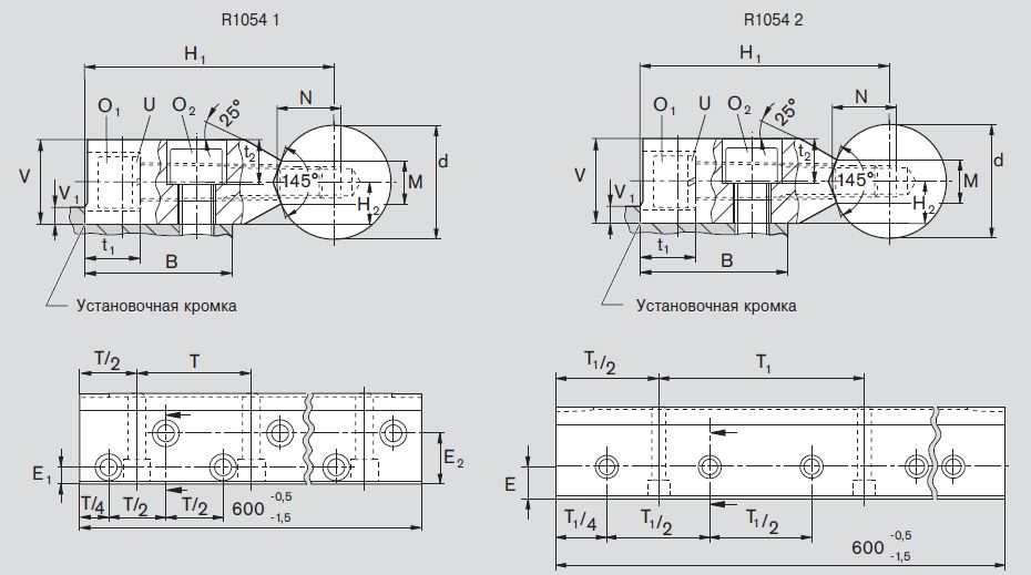 Чертеж R1015 стальной вал, опорная рейка R1054