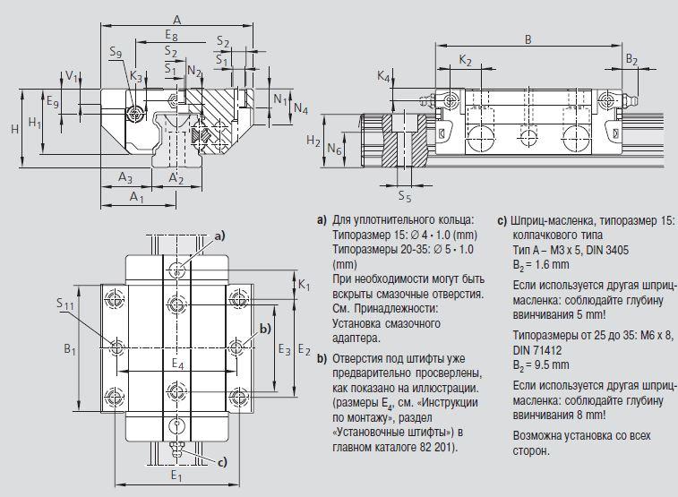 Размеры каретки R1631